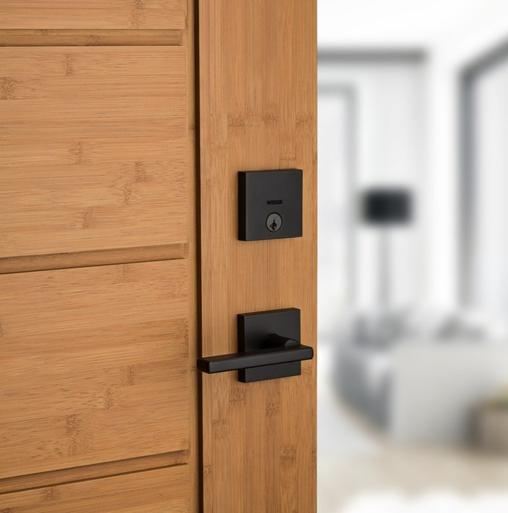 GD1471 downtown single cylinder deadbolt featuring smartkey in iron black lifestyle1