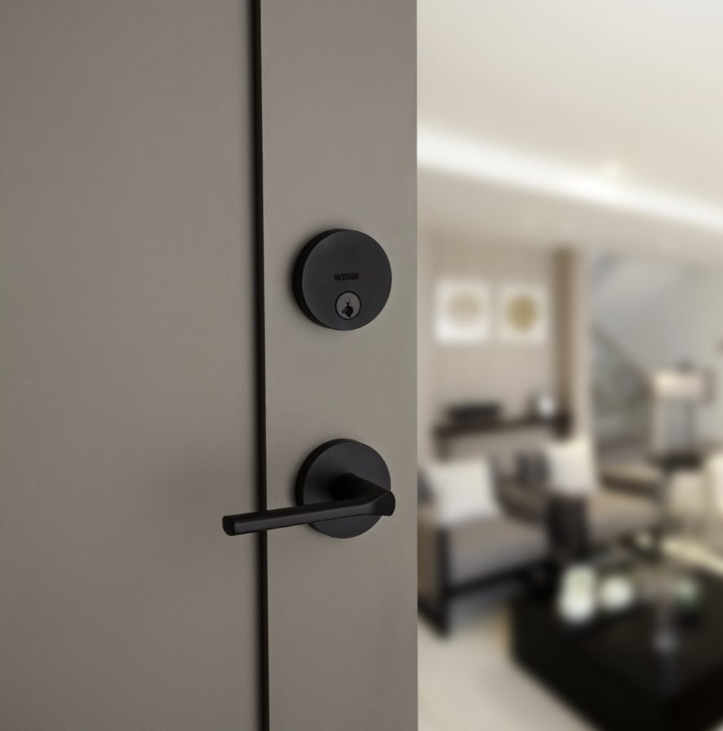 GD1471 uptown single cylinder deadbolt featuring smartkey in iron black lifestyle1