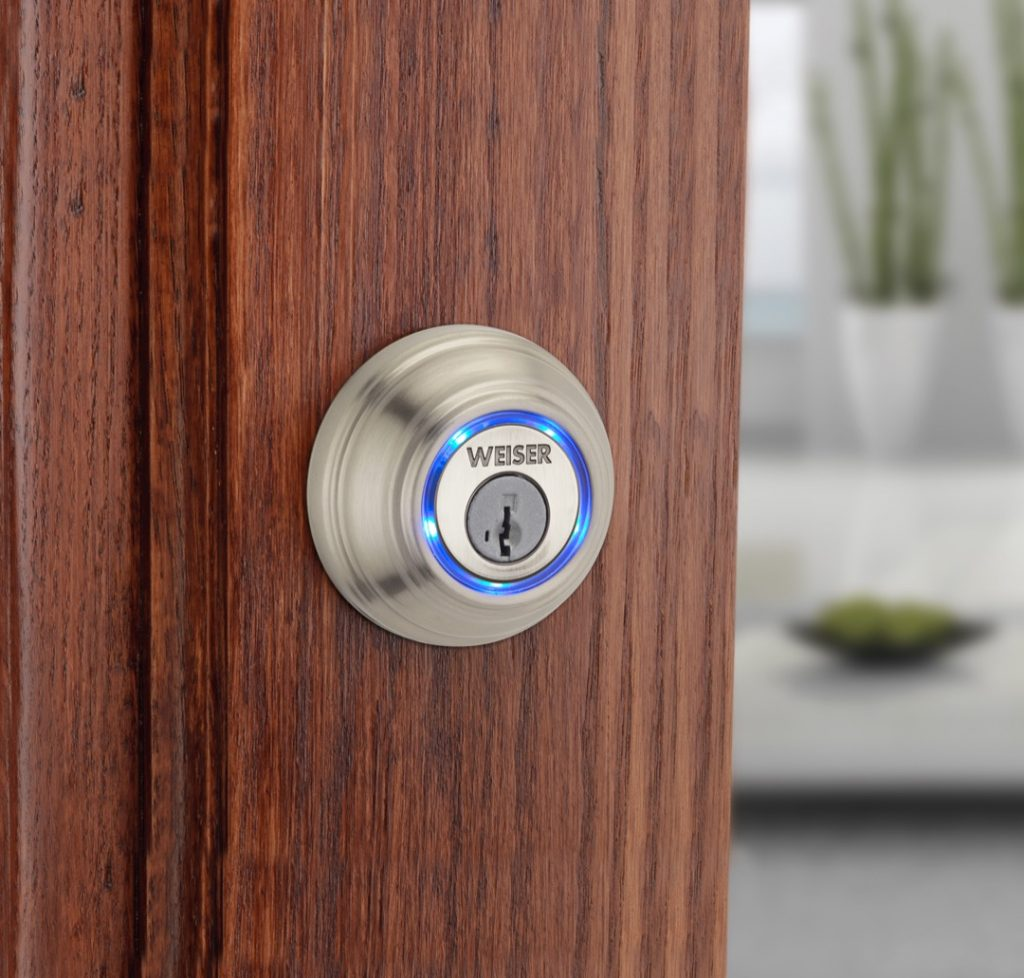 Kevo bluetooth deadbolt in satin nickel lifestyle