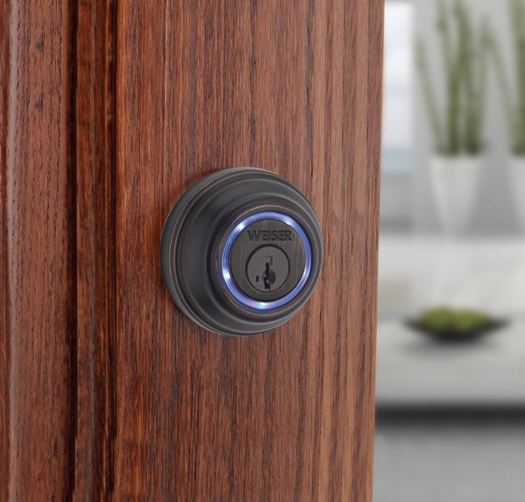Kevo bluetooth deadbolt in venetian bronze lifestyle
