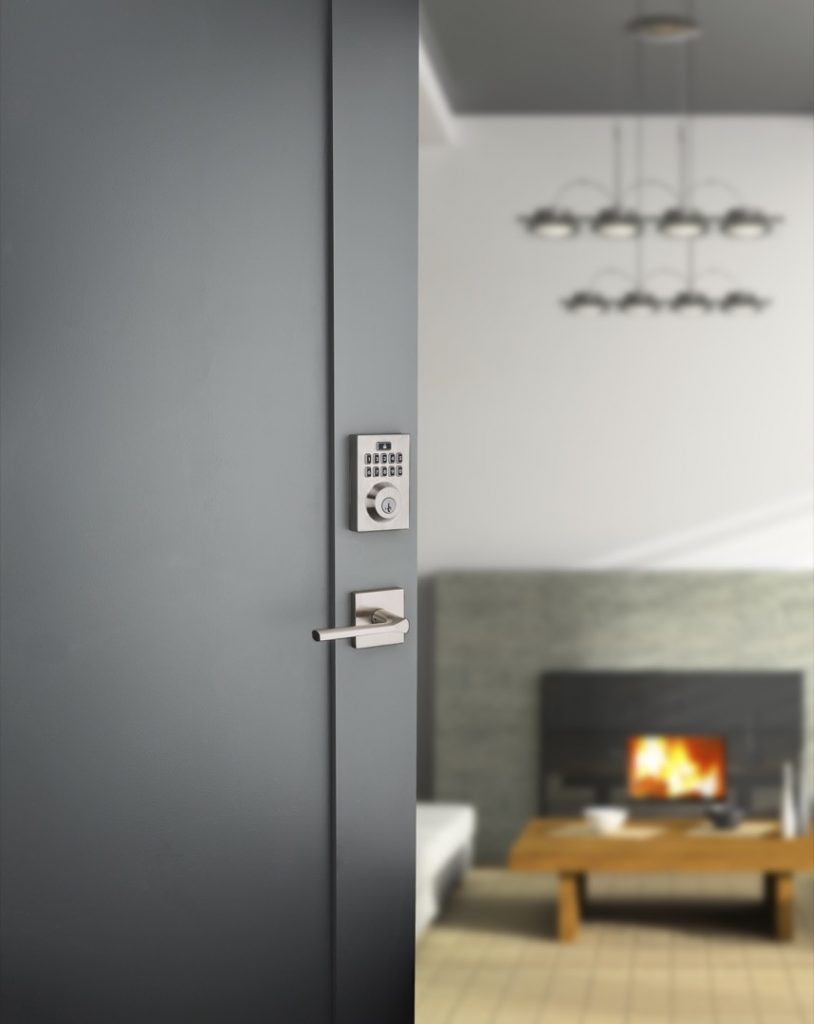 Smartcode 10 contemporary electronic lock featuring smartkey in satin nickel lifestyle