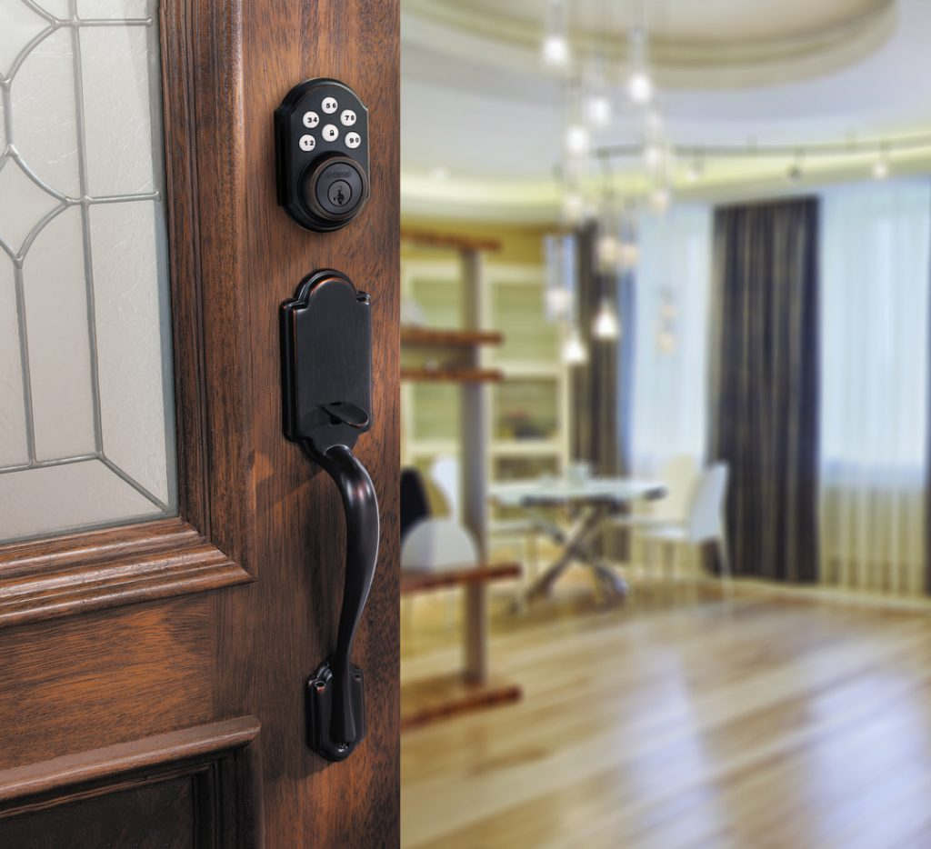 Smartcode 5 traditional electronic lock featuring smartkey in venetian bronze lifestyle