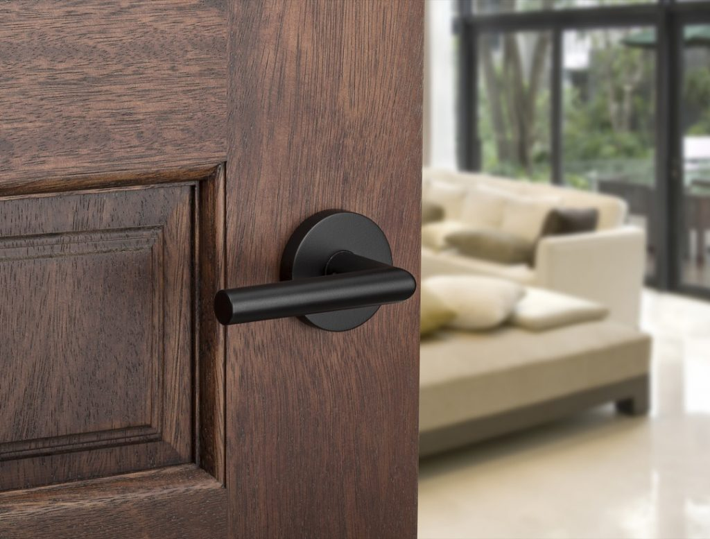 milan round passage lever in iron black lifestyle