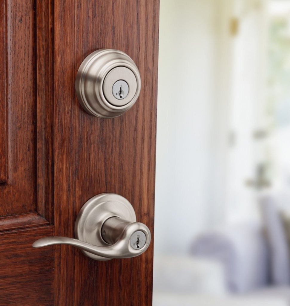 toluca entry lever featuring smartkey in satin nickel lifestyle