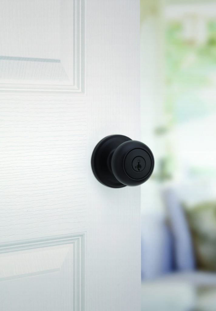 troy entry knob featuring smartkey in iron black lifestyle