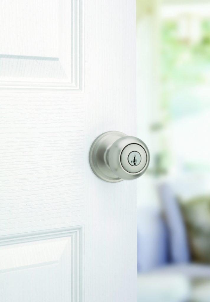 troy entry knob featuring smartkey in satin nickel lifestyle
