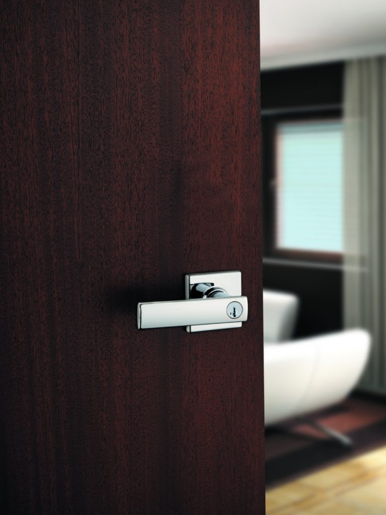 vedani entry lever featuring smartkey in satin nickel lifestyle